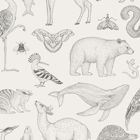 Ferm Living Wallpaper Katie Scott animals off-white 10x0.53m