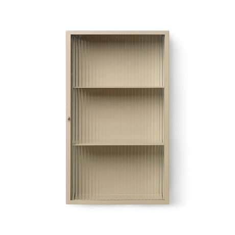 Ferm Living Wall cabinet Haze cashmere beige glass and powder coated metal 35x15x60cm