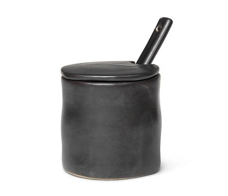Ferm Living Storage jar Flow black glazed porcelain Ø7.5x8x8cm