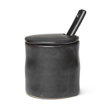 Ferm Living Vorratsglas Flow schwarz glasiertes Porzellan Ø7.5x8x8cm