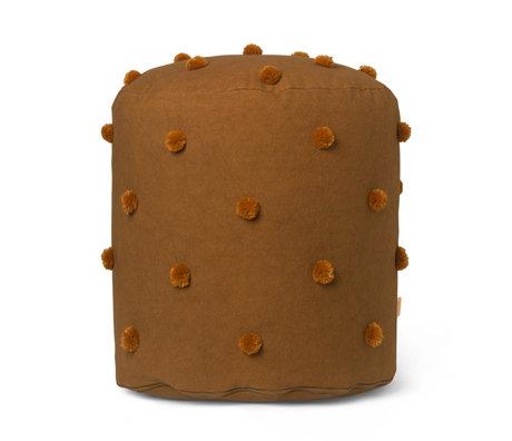 Ferm Living Pouf Dot Tufté jaune moutarde coton Ø39x48cm