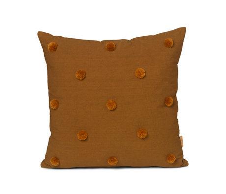 Ferm Living Cushion Dot Tufted mustard yellow cotton 48x48cm