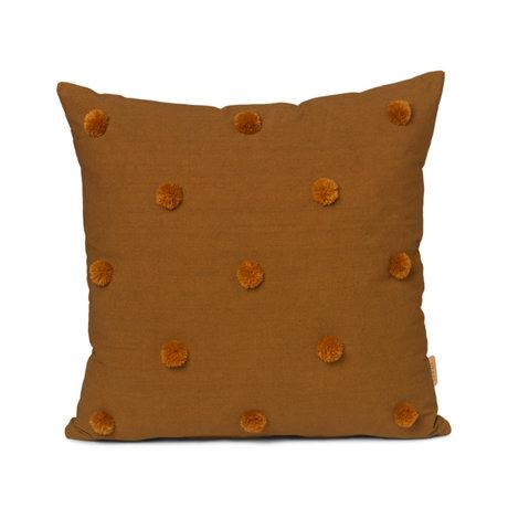 Ferm Living Coussin Dot Tufté jaune moutarde coton 48x48cm