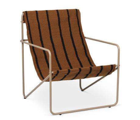 Ferm Living Fauteuil lounge Désert cachemire beige acier époxy et tissu assise Rayures 63x66.2x77.5cm