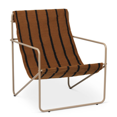 Ferm Living Lounge chair Desert cashmere beige powder-coated steel and fabric seat Stripes 63x66.2x77.5cm