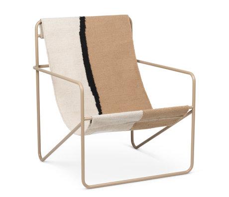 Ferm Living Fauteuil lounge Désert cachemire beige acier époxy et assise tissu Soil 63x66.2x77.5cm