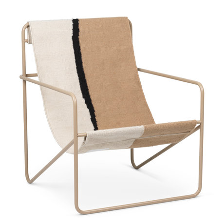 Ferm Living Lounge chair Desert cashmere beige powder-coated steel and fabric seat Soil 63x66.2x77.5cm