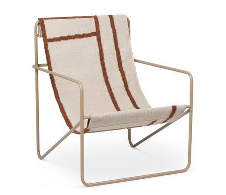 Ferm Living Lounge stoel Desert cashmere beige gepoedercoat staal en stoffen zitting Shapes 63x66,2x77,5cm