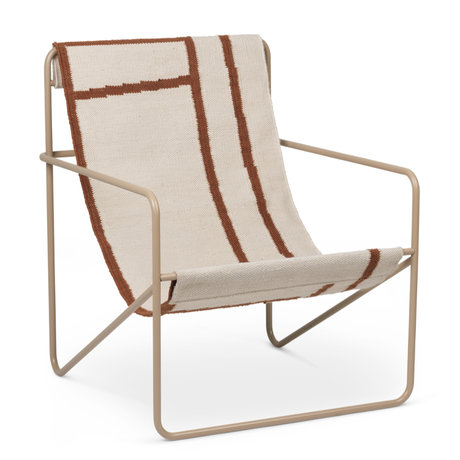 Ferm Living Lounge chair Desert cashmere beige powder-coated steel and fabric seat Shapes 63x66.2x77.5cm