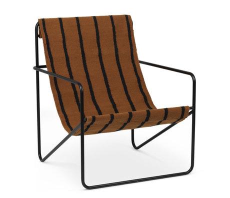 Ferm Living Fauteuil lounge Désert acier peint époxy noir et assise tissu Rayures 63x66.2x77.5cm