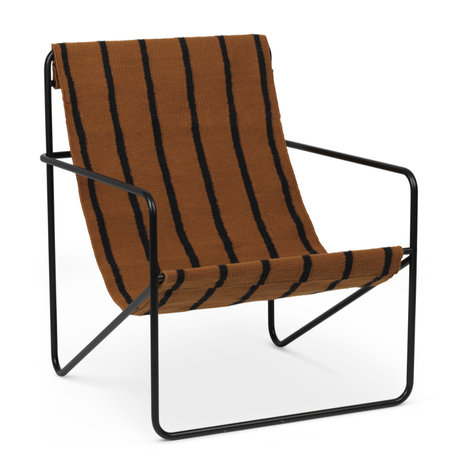 Ferm Living Lounge chair Desert black powder-coated steel and fabric seat Stripes 63x66.2x77.5cm