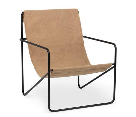 Ferm Living Fauteuil lounge Assise en acier et tissu époxy noir désert Beige cachemire uni 63x66.2x77.5cm
