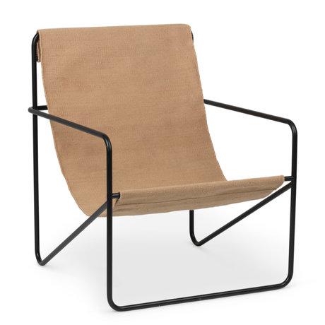 Ferm Living Lounge stoel Desert zwart gepoedercoat staal en stoffen zitting Solid cashmere beige 63x66,2x77,5cm