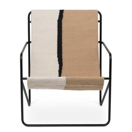 Ferm Living Lounge stoel Desert zwart gepoedercoat staal en stoffen zitting Soil 63x66,2x77,5cm