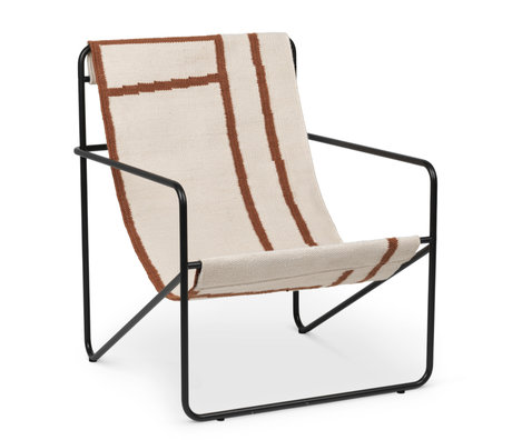 Ferm Living Lounge stoel Desert zwart gepoedercoat staal en stoffen zitting Shapes 63x66,2x77,5cm