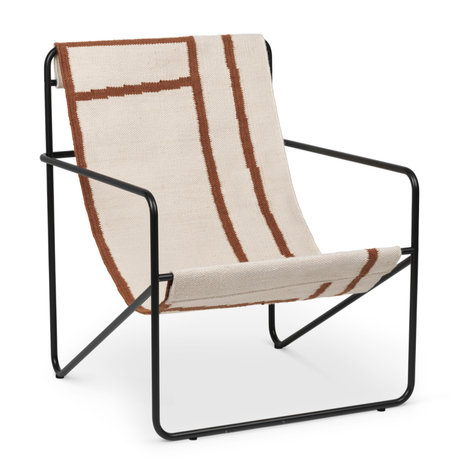 Ferm Living Lounge chair Desert black powder-coated steel and fabric seat Shapes 63x66.2x77.5cm