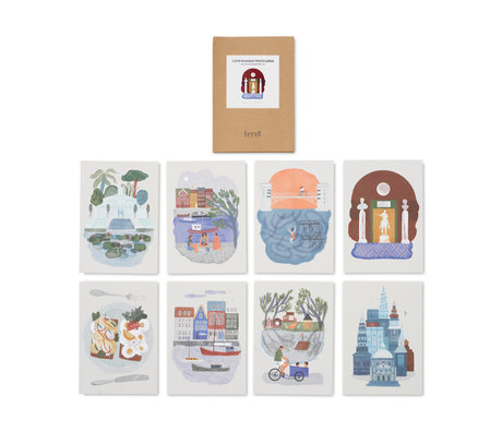 Ferm Living Cards Copenhagen set of 8 A5 multi colored