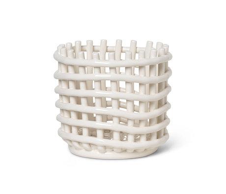 Ferm Living Opbergmand klein Ceramic gebroken wit geglazuurd keramiek Ø16x14,5cm