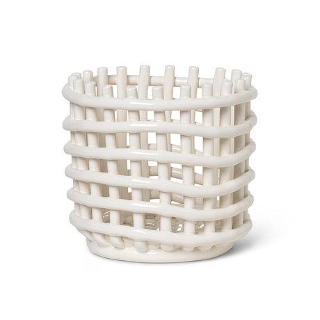 Ferm Living Kleiner Ablagekorb Keramik cremeweiß glasierte Keramik Ø16x14.5cm