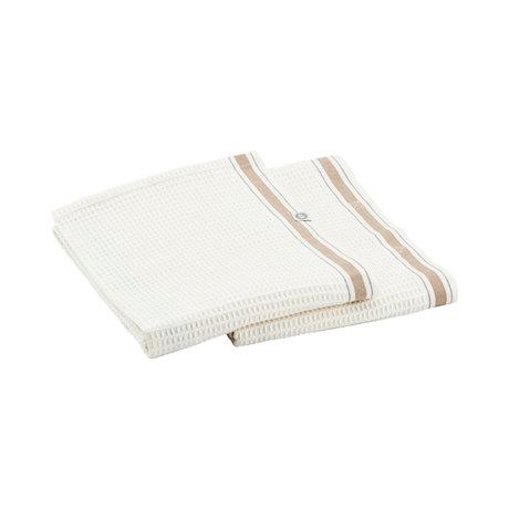 Housedoctor Torchon Bihar nougat blanc coton 75x55cm