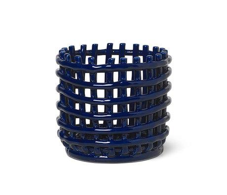 Ferm Living Petit panier de rangement en céramique émaillée bleu céramique Ø16x14.5cm