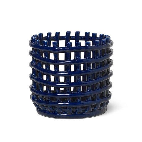 Ferm Living Small storage basket Ceramic blue glazed ceramic Ø16x14.5cm