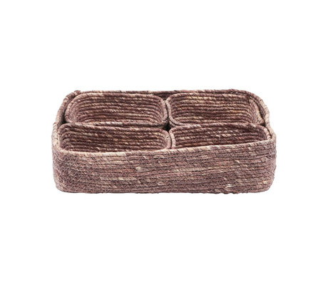 Housedoctor Basket Guna set of 5 red brown seagrass