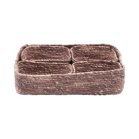 Housedoctor Basket Guna 5er Set rotbraunes Seegras