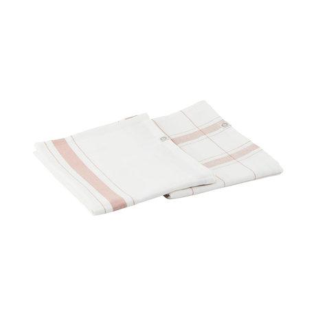 Housedoctor Geschirrtuch Halida weiß nougatgrün Baumwolle 75x55cm