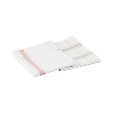 Housedoctor Tea towel Halida white nougat green cotton 75x55cm