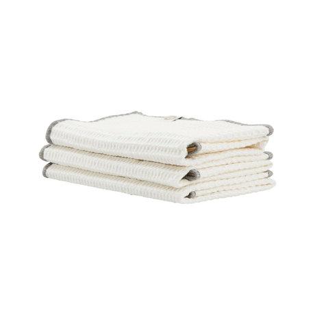 Housedoctor Dishcloth Bihar white gray cotton 30x30cm