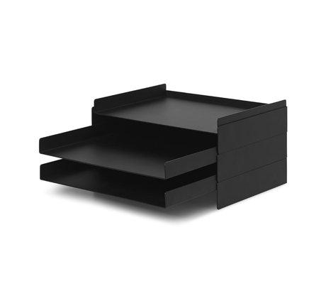 Ferm Living Organisateur de boîte aux lettres 2x2 métal noir 22,8x28,3x12,7 cm