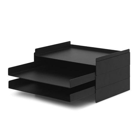 Ferm Living Postbak Organiser 2x2 zwart metaal 22,8x28,3x12,7cm