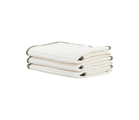 Housedoctor Torchon Bihar coton blanc vert 30x30cm