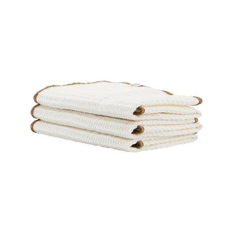 Housedoctor Torchon Bihar nougat blanc coton 30x30cm