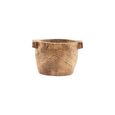 Housedoctor Opbergbak Craft bruin paulownia hout Ø21x15cm