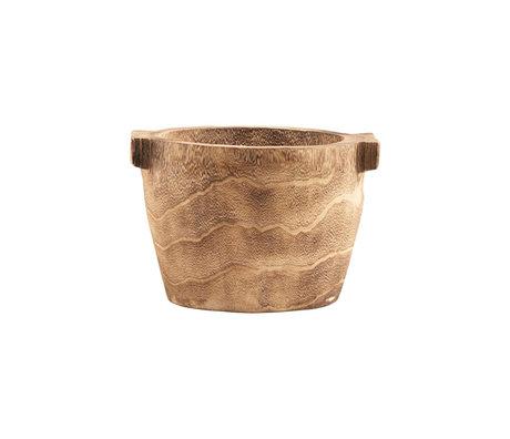 Housedoctor Storage tray Craft brown paulownia wood Ø27x20cm