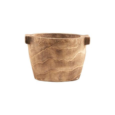 Housedoctor Ablageschale Craft braun Paulownia Holz Ø27x20cm