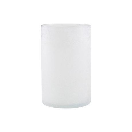 Housedoctor Teelichthalter Mist aus weißem Glas Ø13x19.5cm