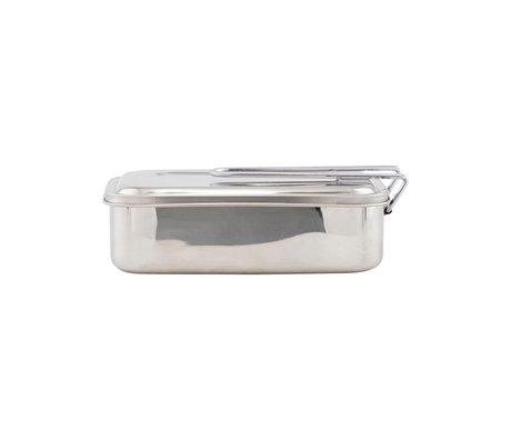 Housedoctor Brotdose Boxit silber Edelstahl 23x17x7cm