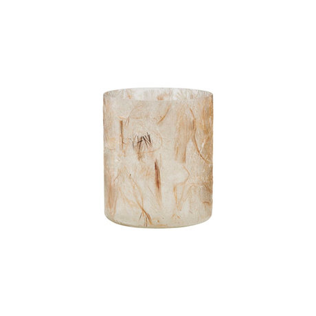 Housedoctor Waxinelichthouder Raipur beige bruin Ø8x10cm