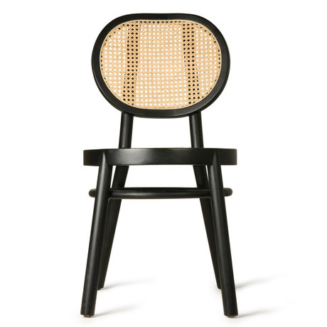 HK-living Chair retro webbing black wood cane 45x54x85cm