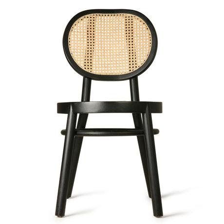 HK-living Stoel retro webbing zwart hout riet 45x54x85cm