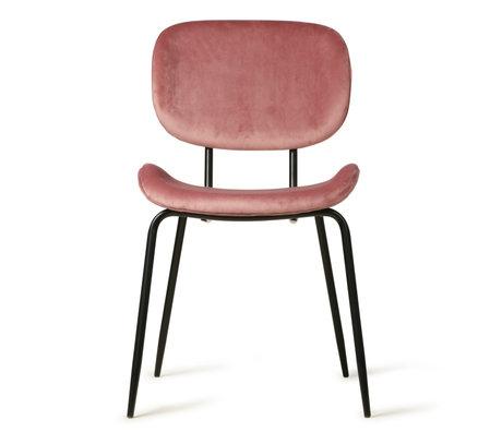 HK-living Chaise de salle à manger ancienne en velours rose métal 48x62,5x85,5cm