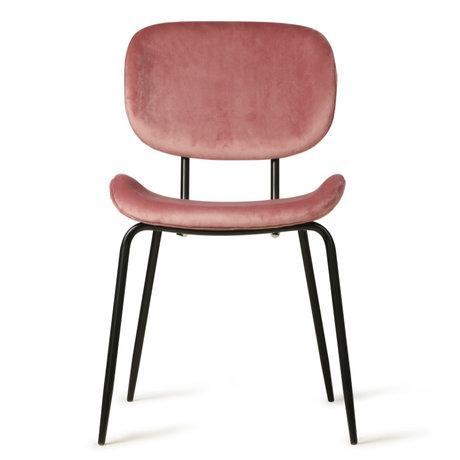 HK-living Dining chair old pink velvet metal 48x62,5x85,5cm