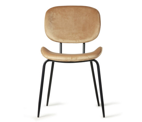 HK-living Chaise de salle à manger marron sable velours métal 48x62.5x85.5cm