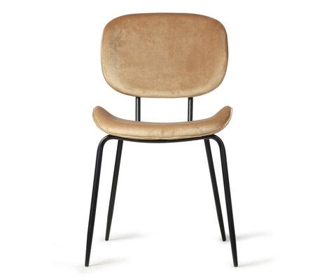 HK-living Dining room chair sand brown velvet metal 48x62.5x85.5cm