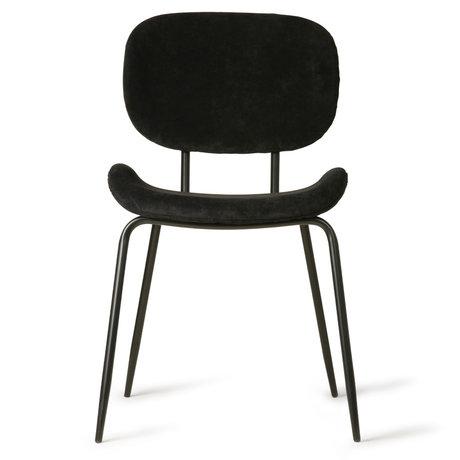 HK-living Chaise de salle à manger en velours côtelé noir 48x62.5x85.5cm