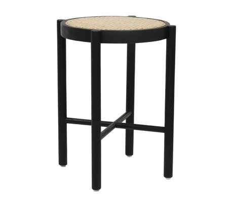 HK-living Tabouret rétro sangle canne en bois noir 35x35x50cm