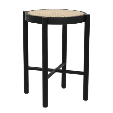 HK-living Stool retro webbing black wood cane 35x35x50cm